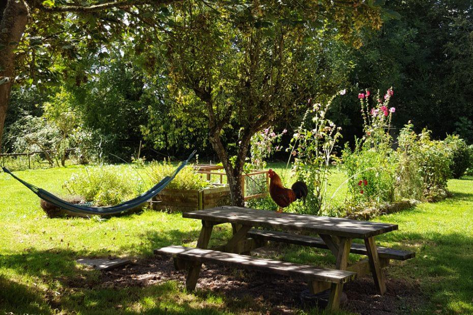 coq, hamac et table de pique nique sous le soleil normand